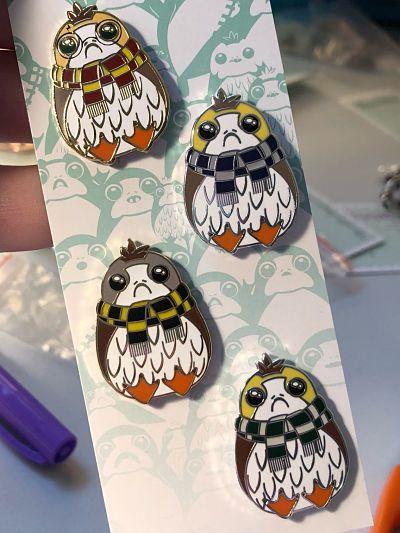 Star Wars x Harry Potter Porg Houses enamel pin set