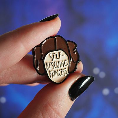 Princess Leia enamel pin with the text 'Self-Rescuing Princess'