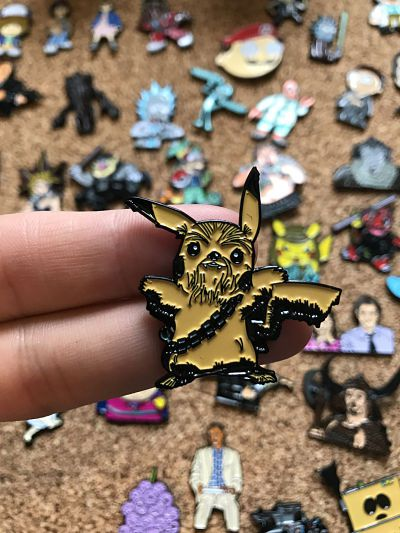 Star Wars x Pokeman Pikachu and Chewbacca enamel pin