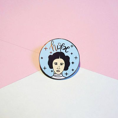 Princess Leia galaxy enamel pin with the text 'Hope'
