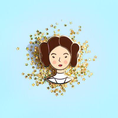 Princess Leia space buns enamel pin