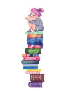 YA book stack art print