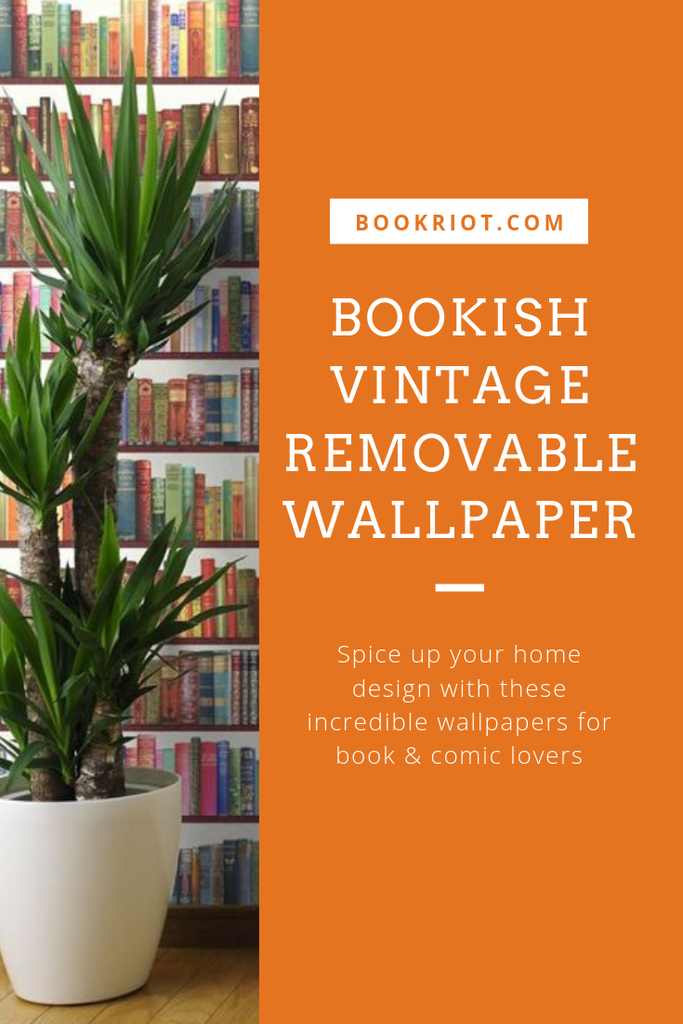 Spice up your home decor game with these bookish vintage removable wallpaper, perfect for offices, bedrooms, libraries, and more! home decor | bookish home decor | literary home decor | wallpaper | vintage wallpaper | removable wallpaper | vintage removable wallpaper