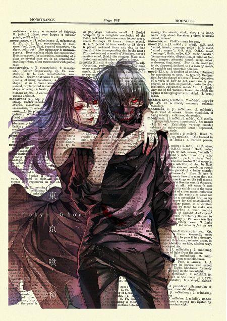 Tokyo Ghoul art featuring Rize and Kaneki
