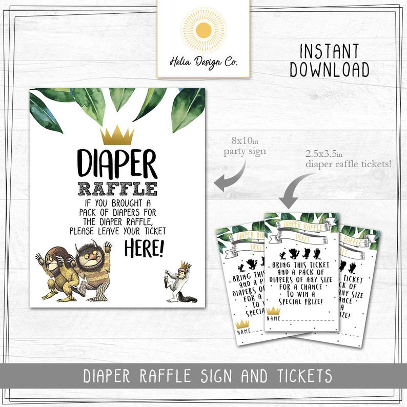 Where the wild things are baby shower diaper raffle cards