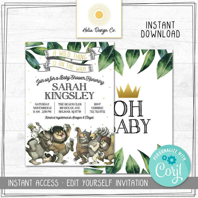 where the wild things are editable baby shower invitation