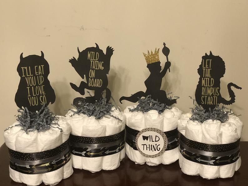 where the wild things are mini diaper cakes