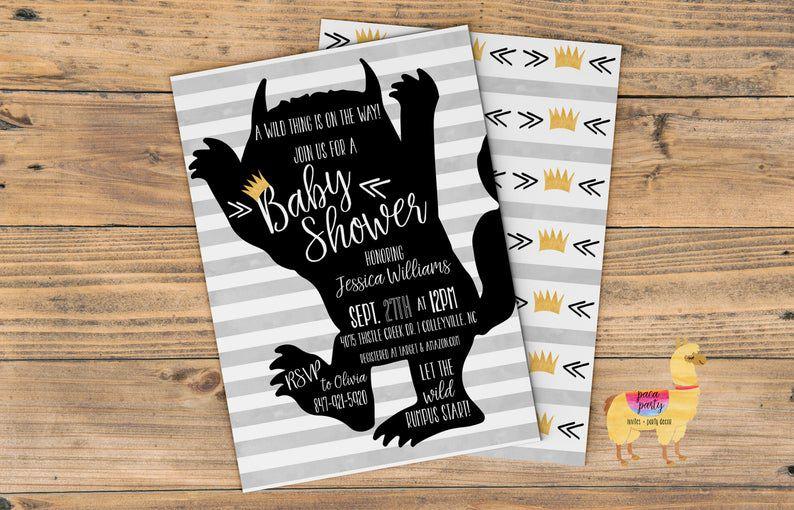 Wild Thing baby shower invitation