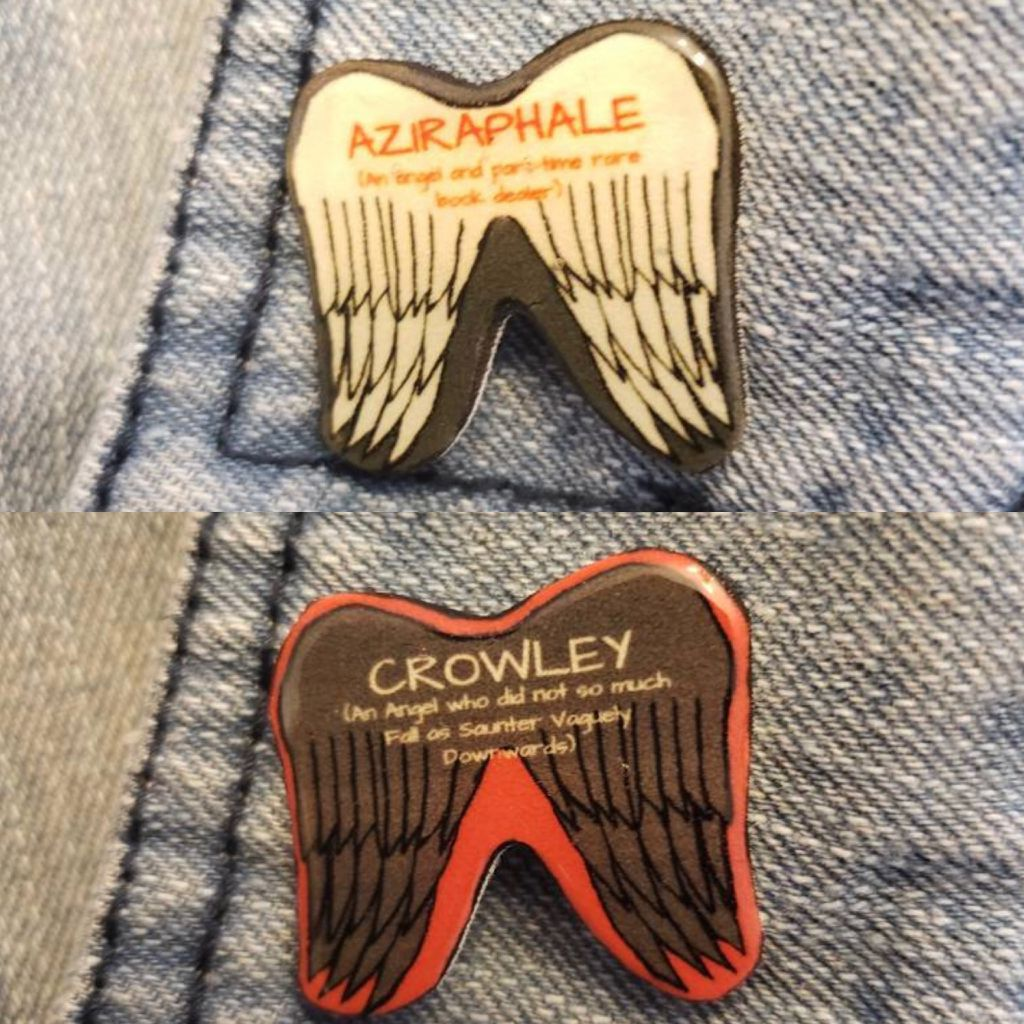 Good Omens gifts-Book Riot-Wing Pins