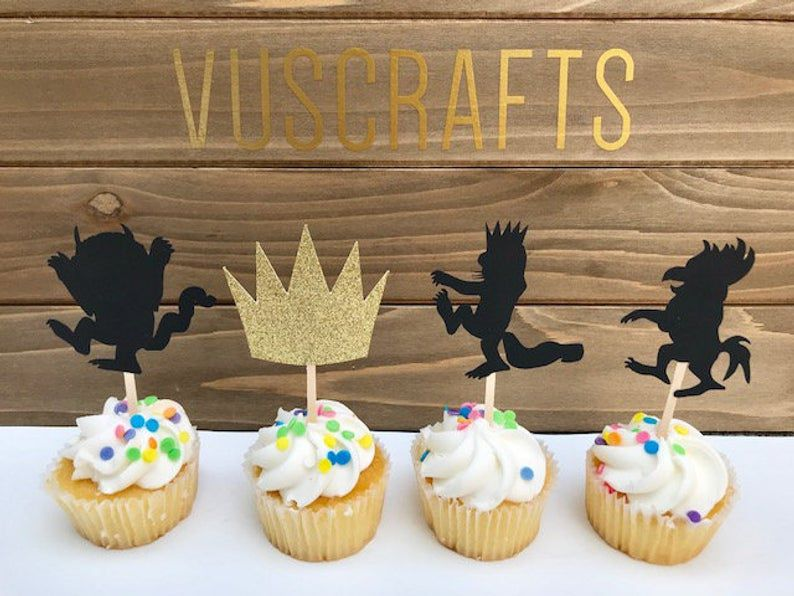 where the wild things are silhouette cupcake toppers