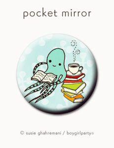 Octopus Bookworm Pocket Mirror