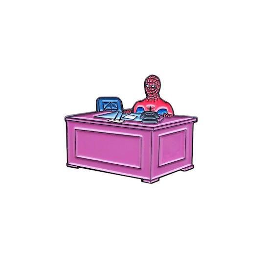 spider-man enamel pins desk meme