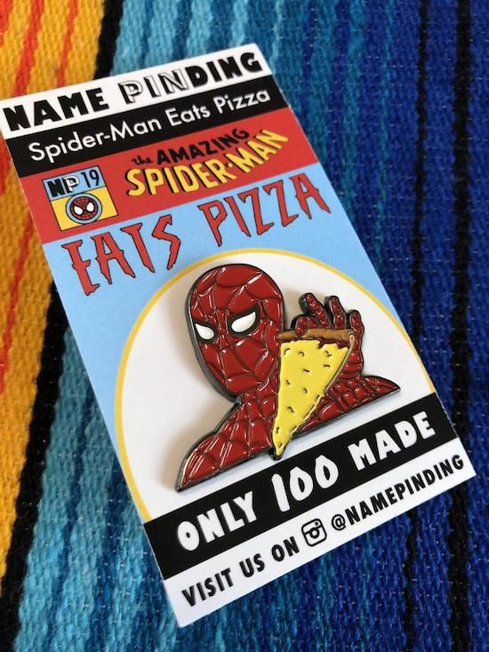 spider-man eats pizza pin