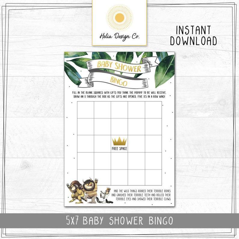 Where the wild things are baby shower bingo