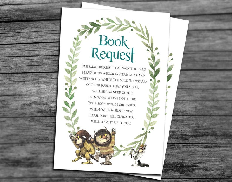 where the wild things are book request cards for invitations