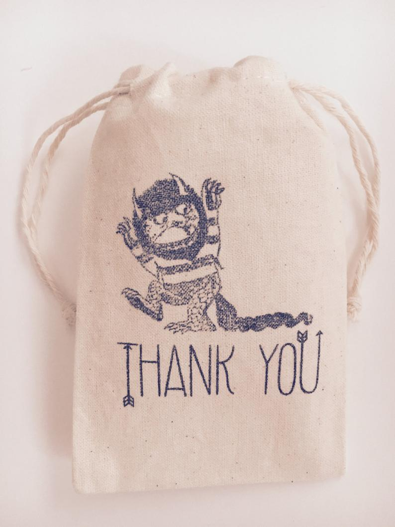 where the wild things are muslin favor bags