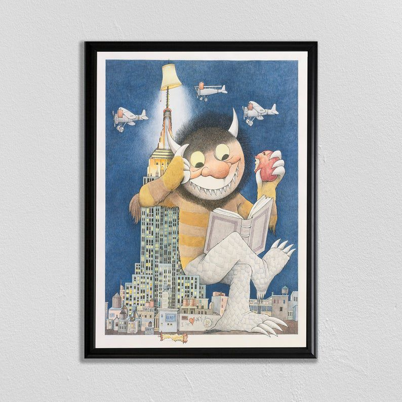 where the wild things are vintage library poster