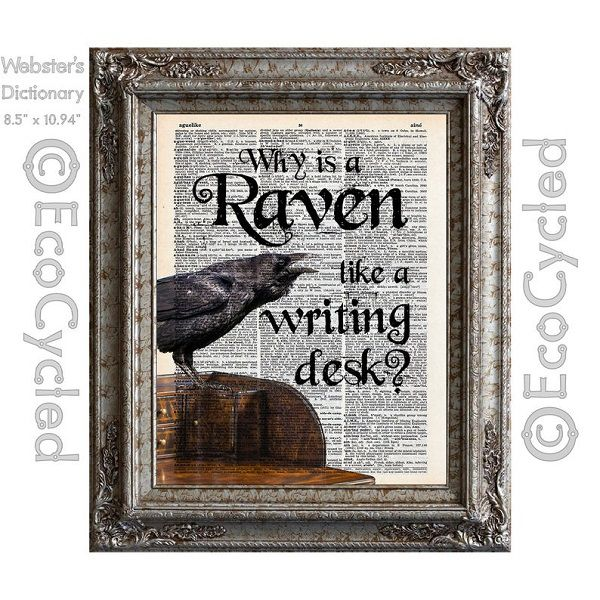 why_is_a_raven_like_a_writing_desk_on_vintage_dictionary_page