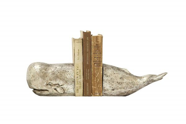 Antique-effect silver leaf sperm whale bookends