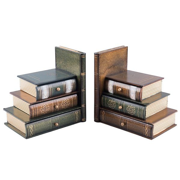 Bookends with three small drawers disguised as books