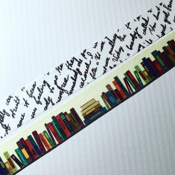 Bookworms Books and Script Washi Tape by DaisyGreyPretties