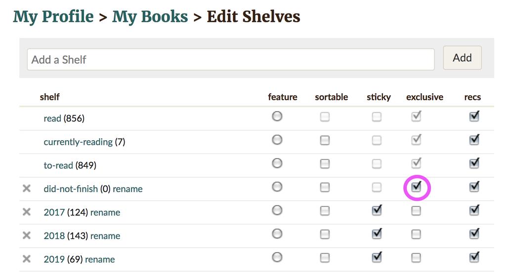 Goodreads Hacks - DNF shelf
