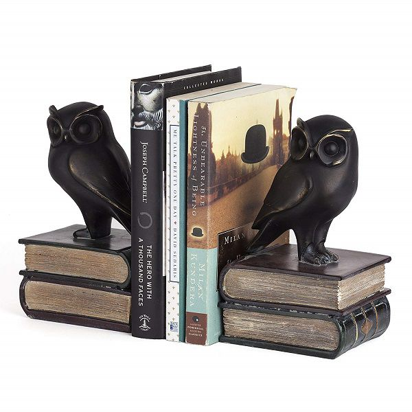 Owls atop books bookends