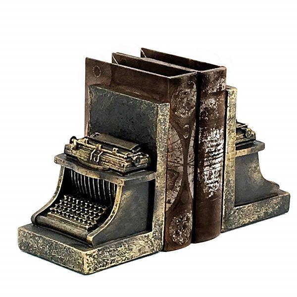 Vintage-look typewriter bookends