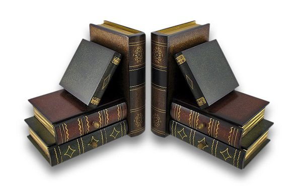 Wooden bookends with two drawers disguised as books