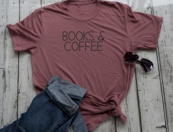 mauve shirt books and coffee