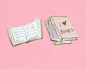 I Love Books Enamel Pin Set