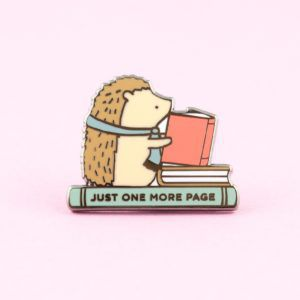Just One More Page Reading Hedgehog Pin