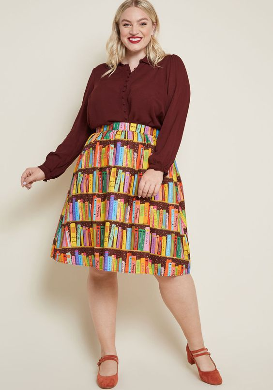 book spines skirt plus size