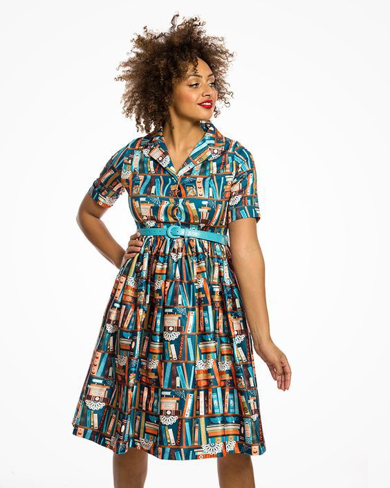 lindy bop retro shirt dress book print