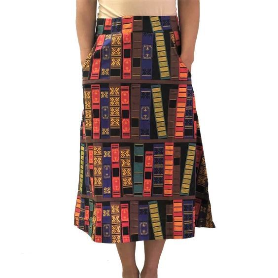 book print a line skirt plus size