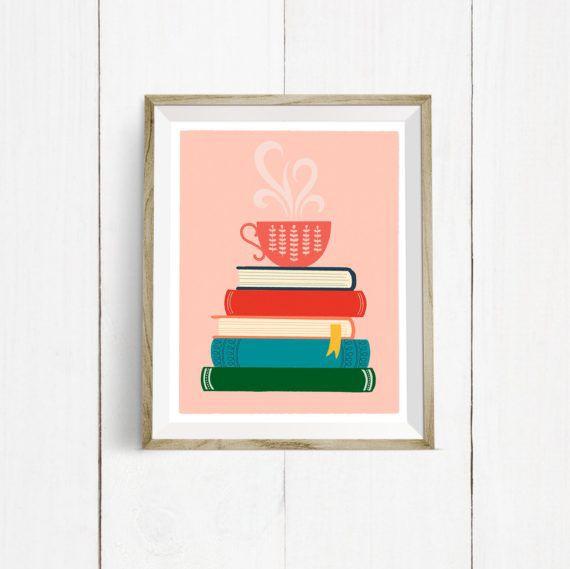 Tea Book Stack Art Print