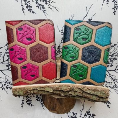 honeycomb leather book cover