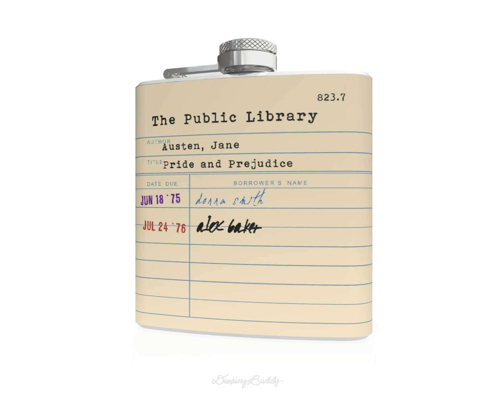 Jane Austen Library Card Hip Flask