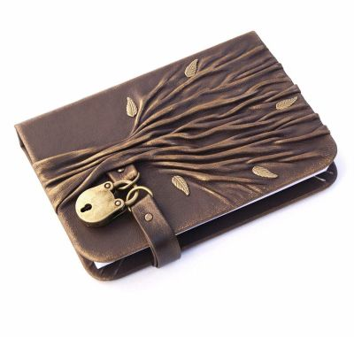 leather tree journal with lock and key