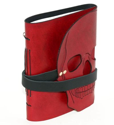 red leather skull notebook cover