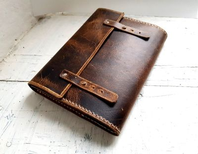 rustic brown leather journal cover