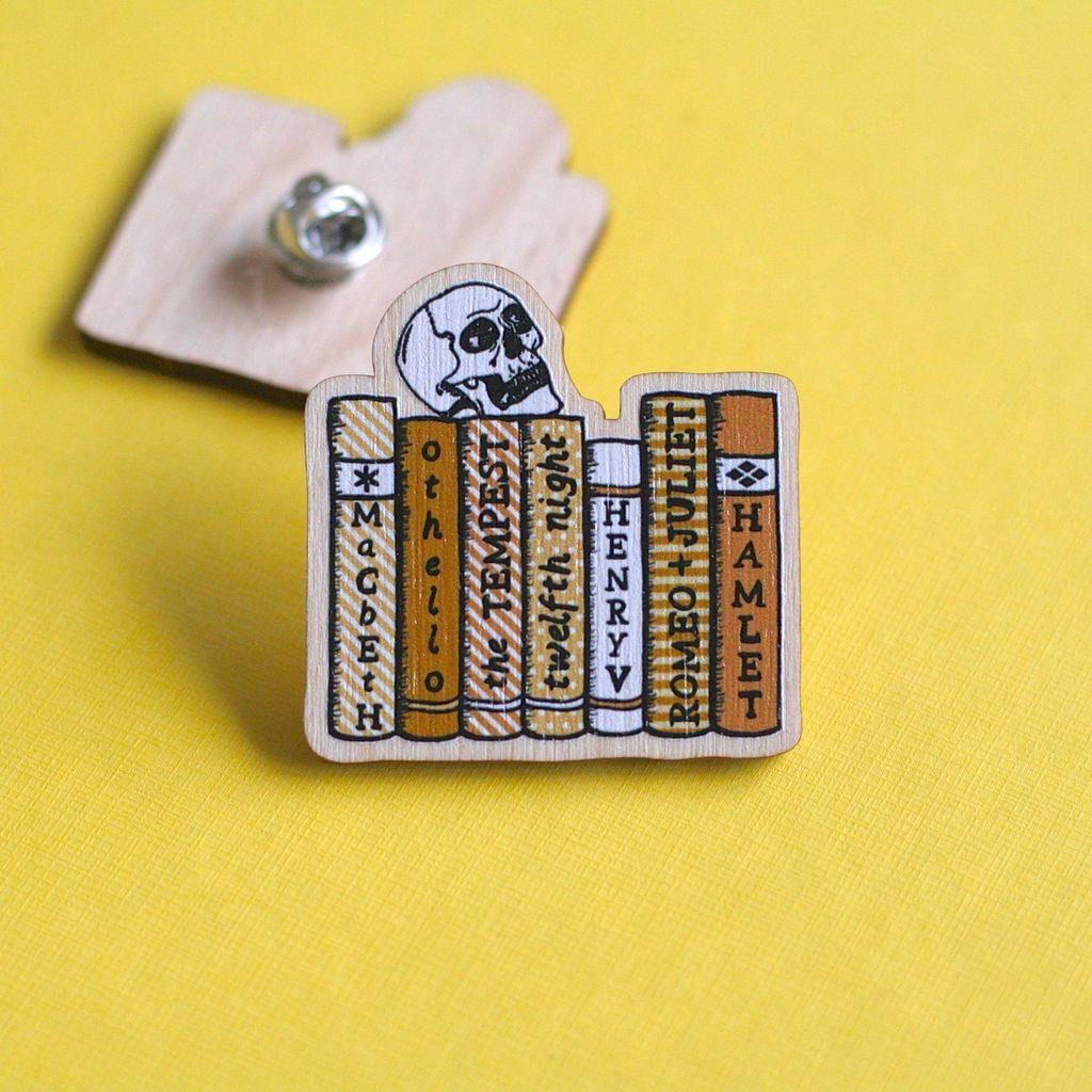 shakespeare bookshelf pin