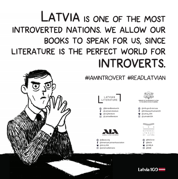 "A Latvian Embassy Little Free Library poster reading: ""Latvia is one of the most introverted nations. We allow our books to speak for us, since literature is the perfect world for introverts"""