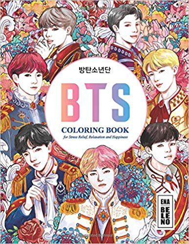 BTS Coloring Book for Stress Relief, Happiness and Relaxation- for ARMY and KPOP lovers Love Yourself Book 8.5 in by 11 in Size - Hand-drawn ... Jin, RM, JHope, Suga, Jimin, V, and Jungkook book cover