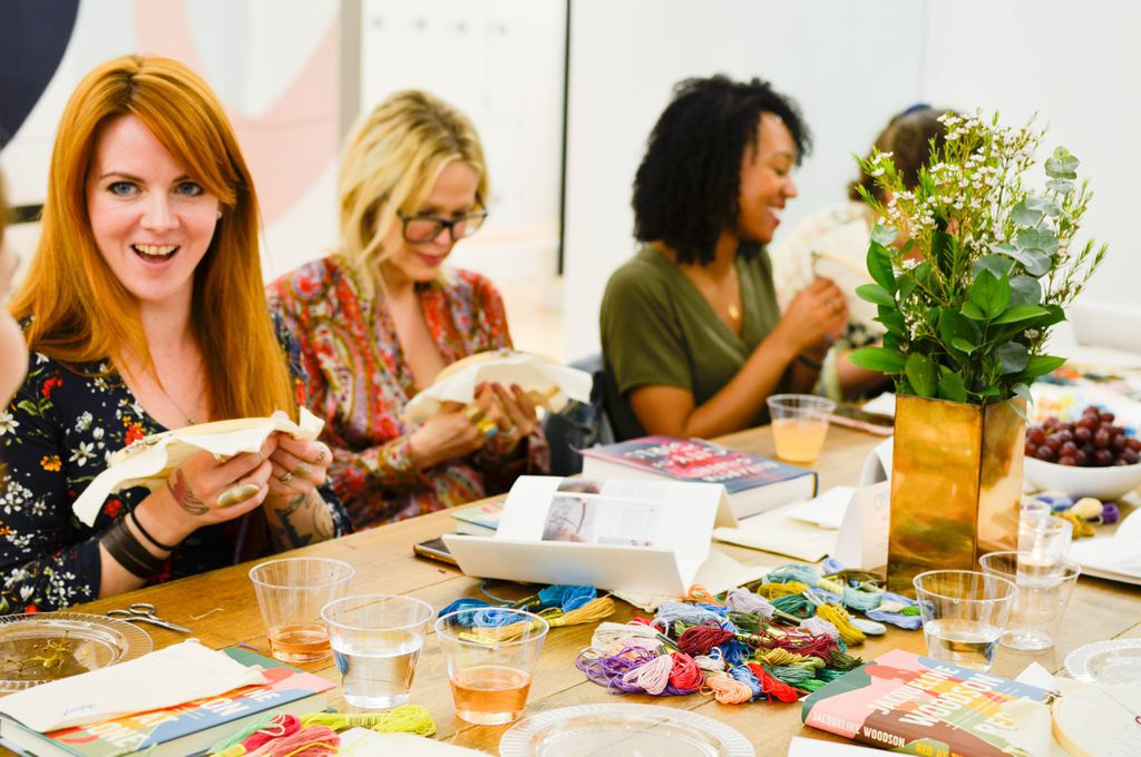 Women cross-stitching at CRAFTED x Riverhead's Sip & Stitch book event