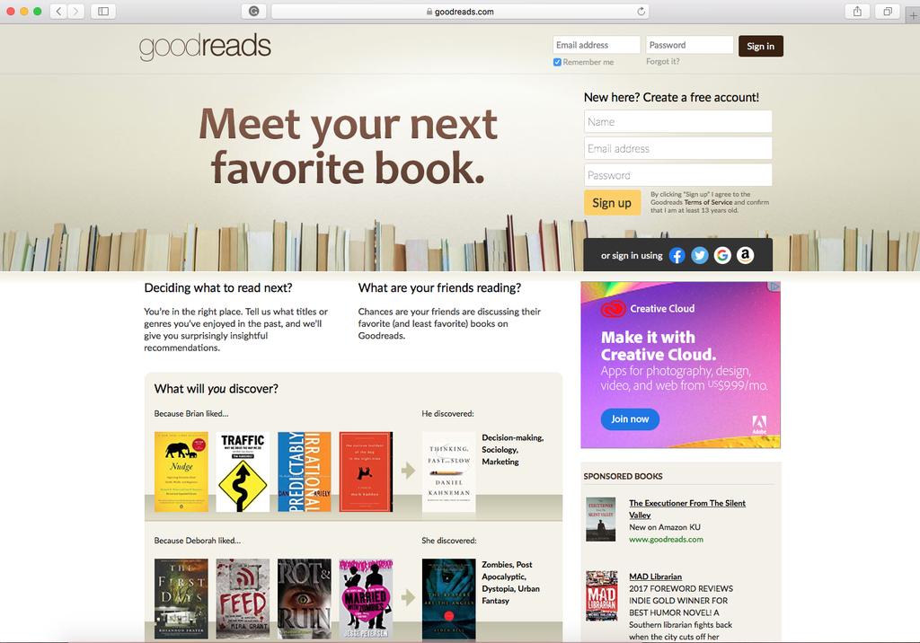 Goodreads website 2019
