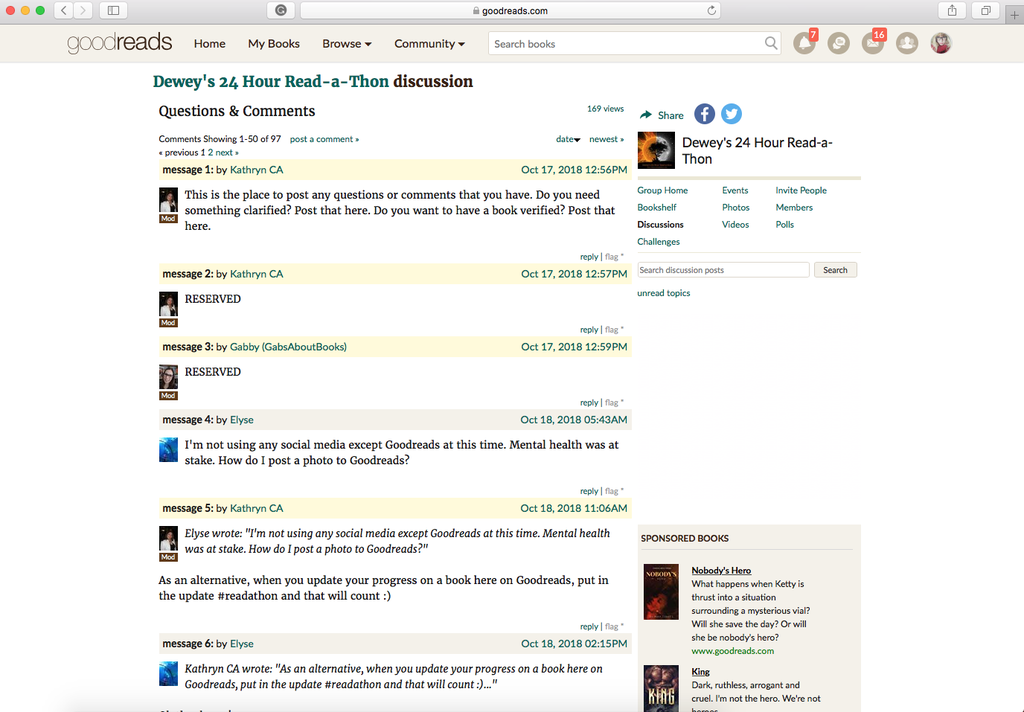 Screenshot example of a Goodreads group