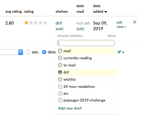 A screenshot of the Goodreads shelving system