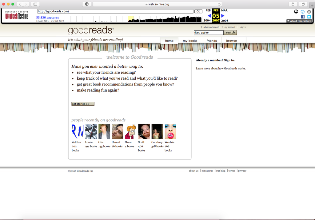 Goodreads capture from the Wayback Machine 2007