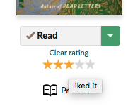 Screenshot of the Goodreads star rating system